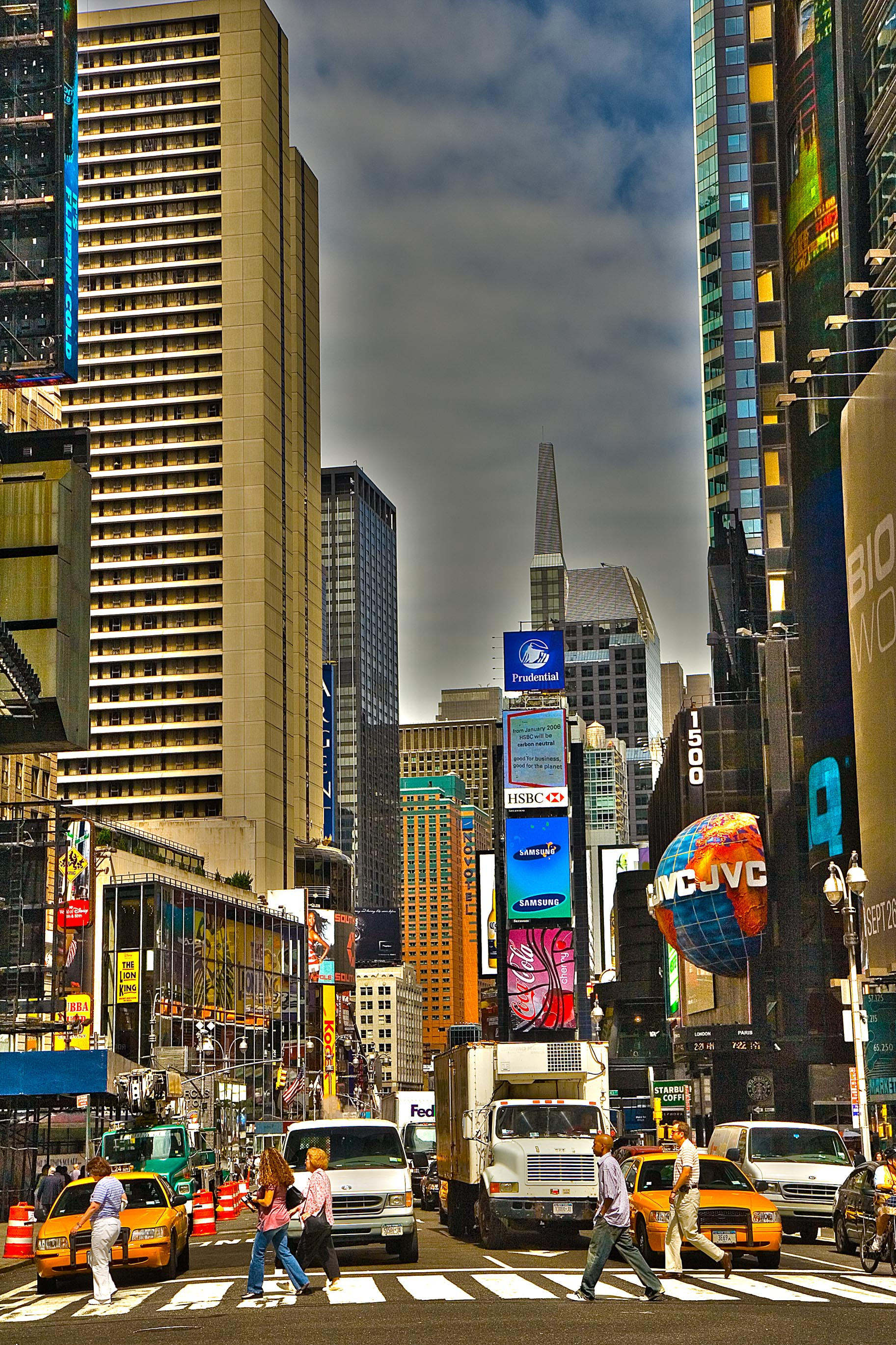 People crossing Broadway at Times Square – HDR