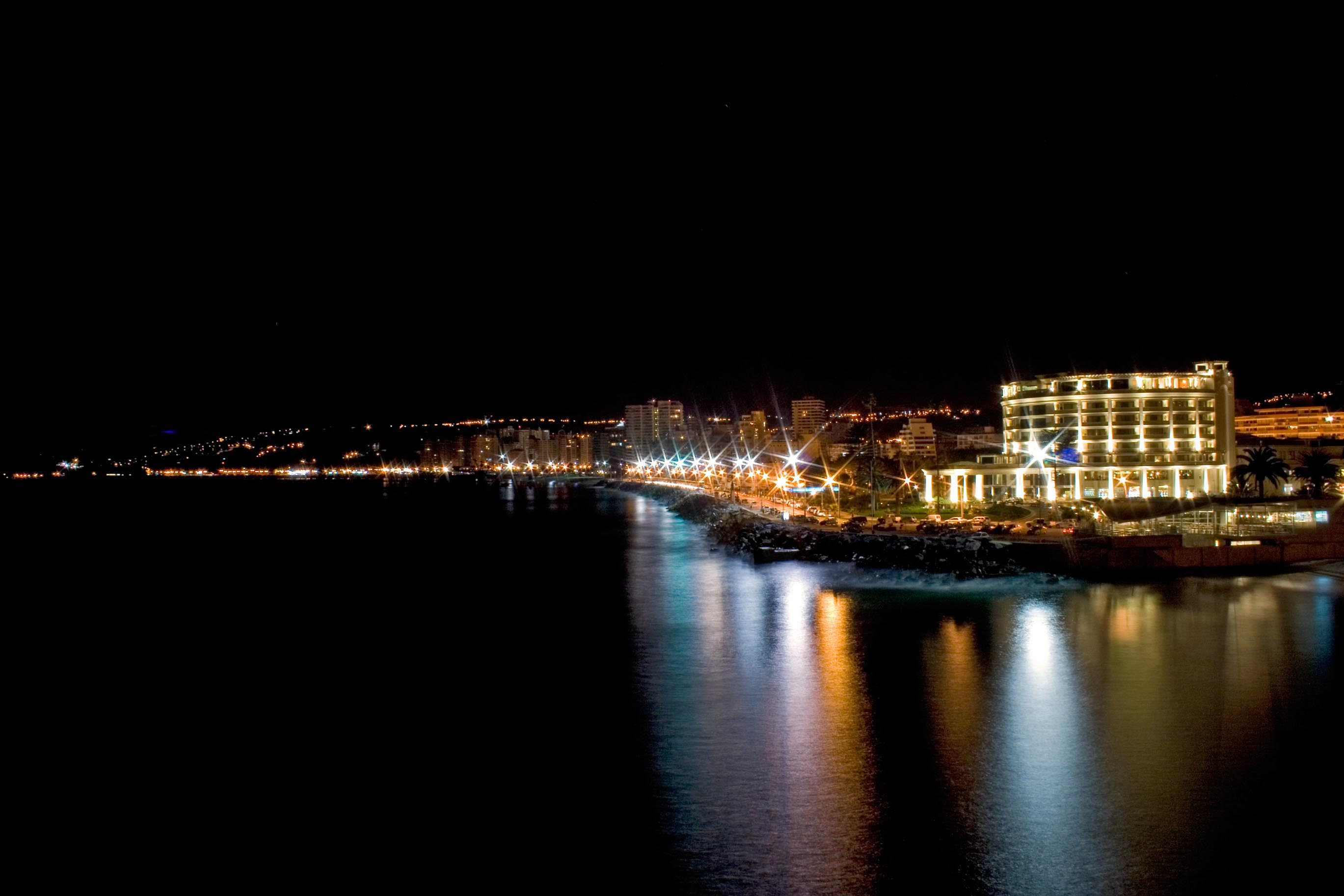 View of Viña del Mar promenade at night