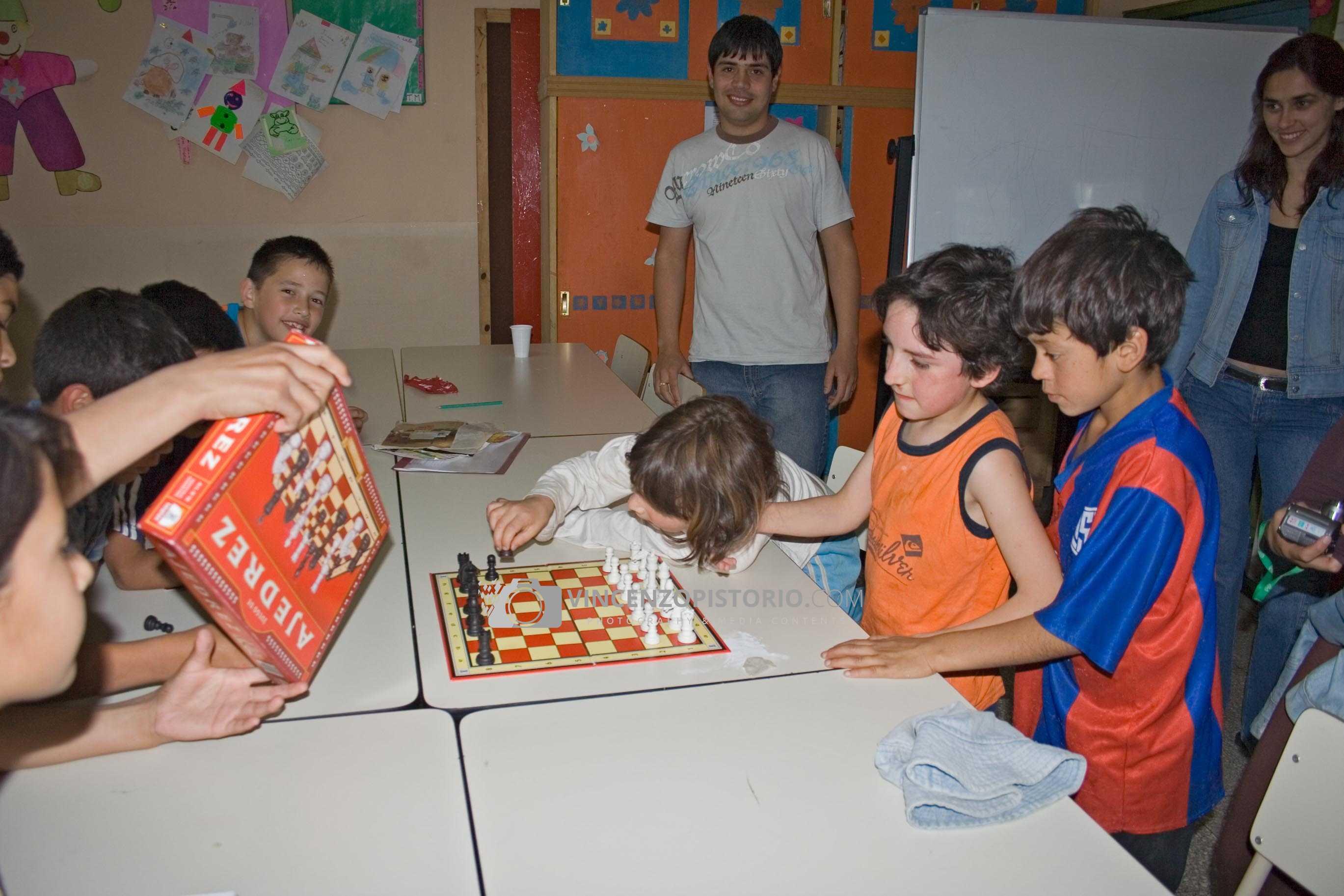 Guys playing chess
