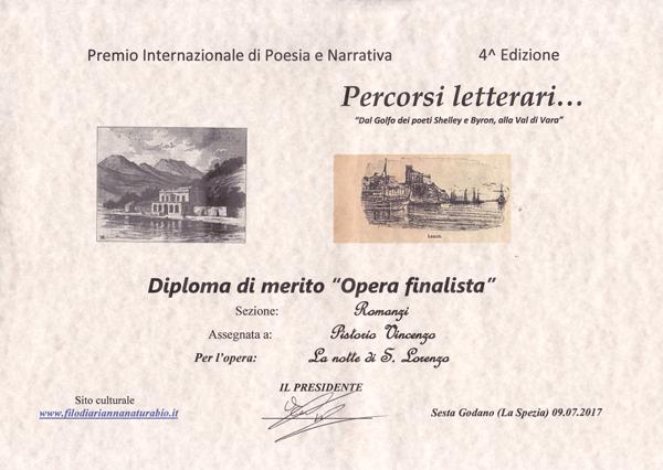 """Finalista al Premio """"dal Golfo dei poeti Shelley e Byron alla Val di Vara"""""""