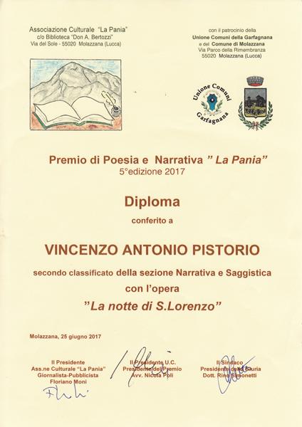 Secondo Classificato al Premio La Pania