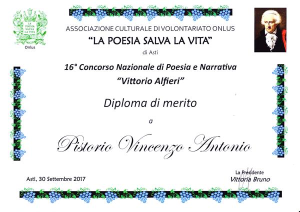 Diploma di merito al Concorso Nazionale Vittorio Alfieri